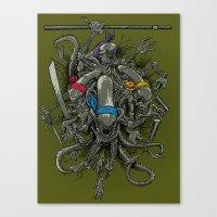 Ancient Ninja Xenomorphs Canvas Print