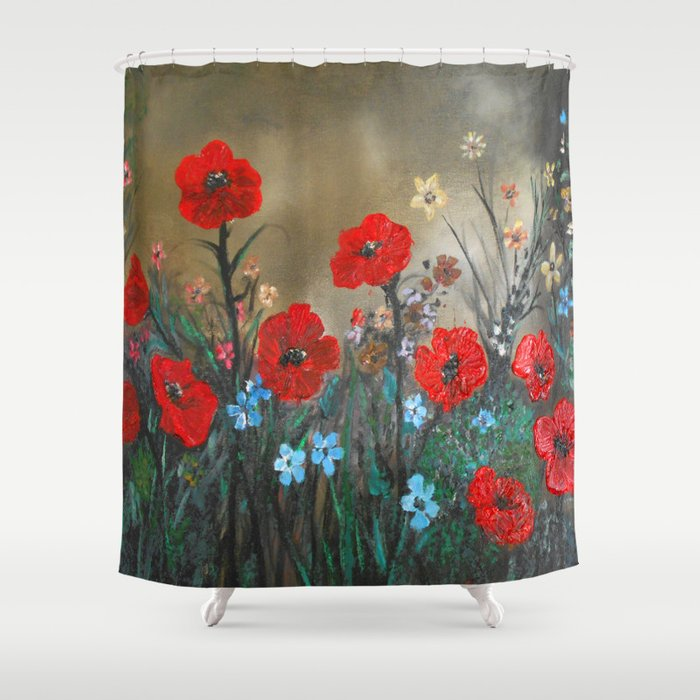 Impasto Red Poppy Love Garden Shower Curtain by RokinRonda