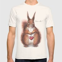 Squirrel Heart Love Mens Fitted Tee Natural SMALL
