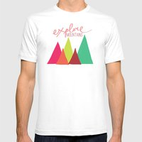 Explore Mountains Mens Fitted Tee White SMALL