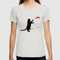 Cat And X-Wing Womens Fitted Tee Silver SMALL