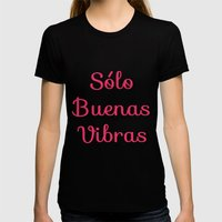 Sólo Buenas Vibras Womens Fitted Tee Black SMALL