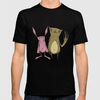 Bunny and Bear Friends  Mens Fitted Tee Black SMALL
