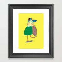 Skateboarding Owl. Framed Art Print