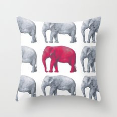 Elephants Red Throw Pillow