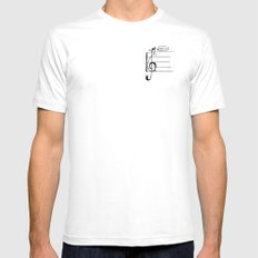 Treble Clef Cat Mens Fitted Tee White SMALL