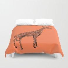 Designer Giraffe Coral Duvet Cover