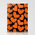 Sketchy hearts in orange and black Stationery Cards
