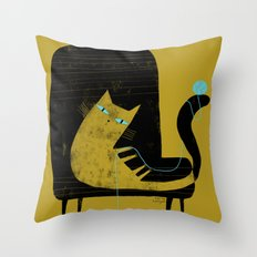 YELLOW CAT BLACK CHAIR Throw Pillow