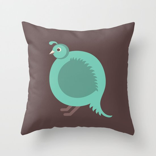 Letter Q // Animal Alphabet // Quail Throw Pillow