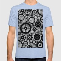 Grunge Cogs. Mens Fitted Tee Tri-Blue SMALL
