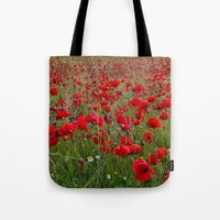 Field Of Poppies In The … Tote Bag