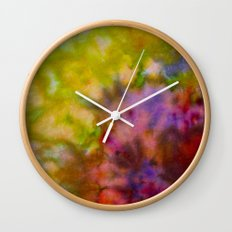 Burgundy and Olive Abstract Wall Clock