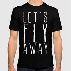 Let's Fly Away SMALL Black Mens Fitted Tee