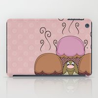 Cute Monster With Orange And Red Frosted Cupcakes iPad Case