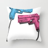 dual-wielding Throw Pillow