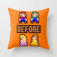 Super Mario Bros Before … Throw Pillow