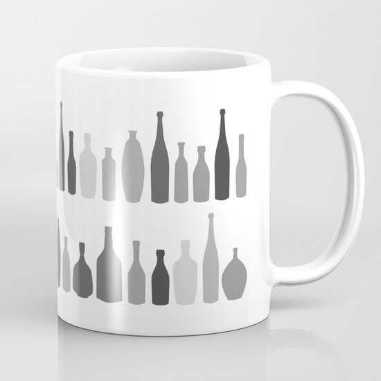 Bottles Black and White on White Mug
