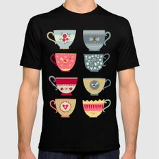 Tea Cups Mens Fitted Tee Black SMALL