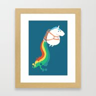 Fat Unicorn On Rainbow J… Framed Art Print