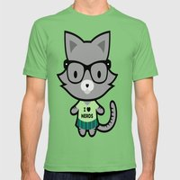 I Heart Nerds Kitty Mens Fitted Tee Grass SMALL