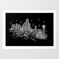 Dallas, Texas City Skyline Art Print