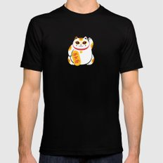Lucky Cat Mens Fitted Tee Black SMALL