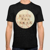 Let's Run Away Mens Fitted Tee Tri-Black SMALL