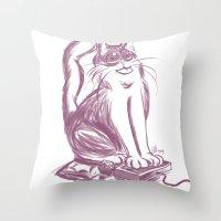 Geek Cat  Throw Pillow