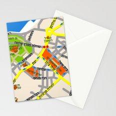Tel Aviv Jaffa map design - written in Hebrew 2  Stationery Cards