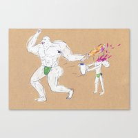 Hercules accidentally kills the boy who brought him a water jar Canvas Print
