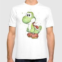 Yoshi Watercolor Mario Mens Fitted Tee White SMALL