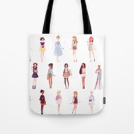 Tote Bag featuring Casual Princesses - Grou… by Punziella