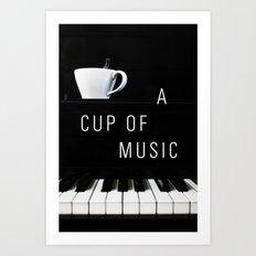 Piano & Coffee Art Print