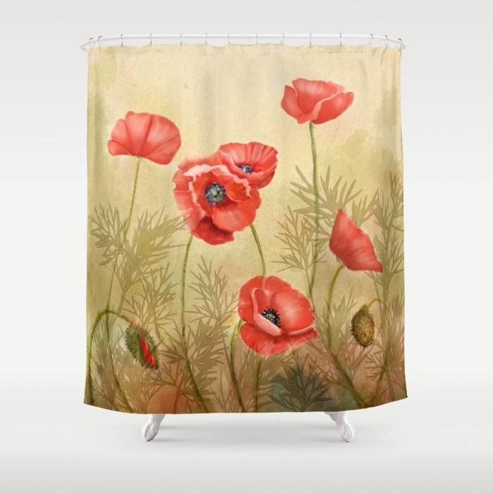 Red Poppies Shower Curtain By JoanAHamilton