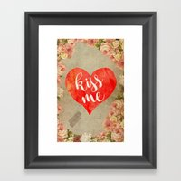 Vintage Quotes Collection -- Kiss Me Framed Art Print