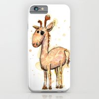 iPhone & iPod Case featuring Giraffe Funny Watercolor Painting  by Olechka
