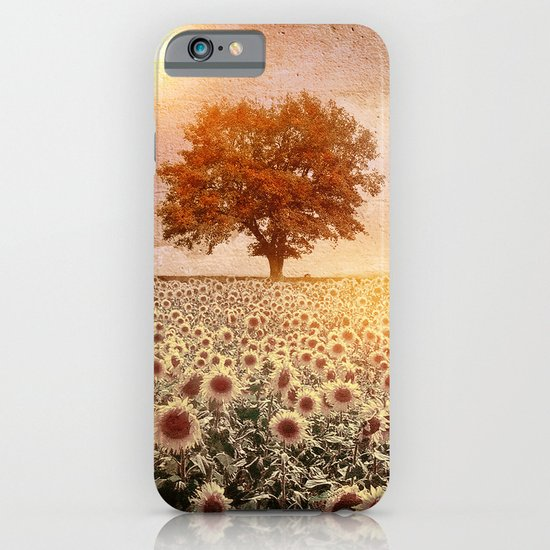 lone tree & sunflowers field (colour option) iPhone & iPod Case