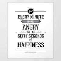 Happiness Quote Art Print