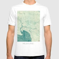 Melbourne Map Blue Vintage SMALL Mens Fitted Tee White