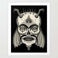 Three-Eyed Skull with Unibrow Art Print
