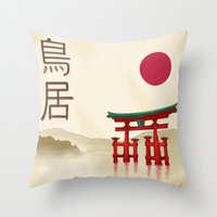 Torii Gate - Painting Throw Pillow