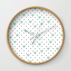 Pin Point Hearts Mint Wall Clock
