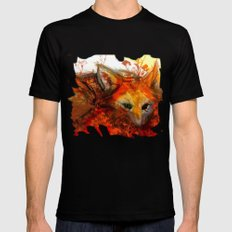 Fox in Sunset III Mens Fitted Tee Black SMALL