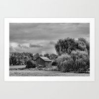 Down On The Farm Black A… Art Print