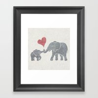 Elephant Hugs Framed Art Print