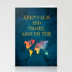 Keep Calm and travel around the world Stationery Cards