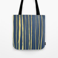Vertical Living Navy and Gold Tote Bag