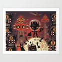 DJ Hammerhand cat - party at ogm garden Art Print