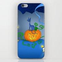 Halloween - Cat On Pumpkin iPhone & iPod Skin